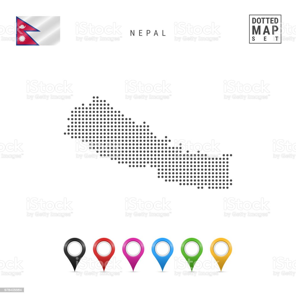Vector Dotted Map Of Nepal Simple Silhouette Of Nepal The National ...