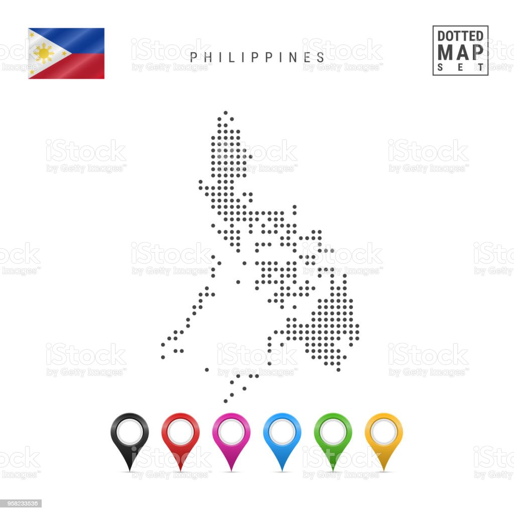 Simple Philippines Map.Vector Dotted Map Of Philippines Simple Silhouette Of Philippines