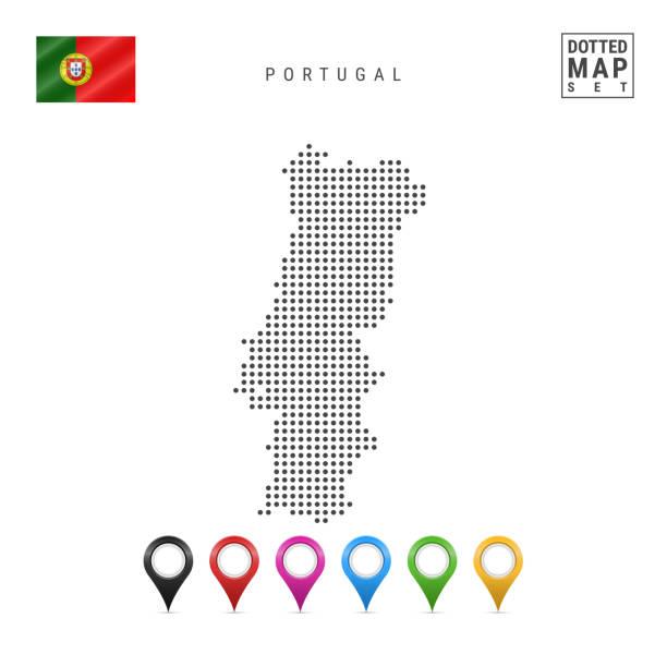 ilustrações de stock, clip art, desenhos animados e ícones de vector dotted map of portugal. simple silhouette of portugal. national flag of portugal. set of multicolored map markers - portugal map