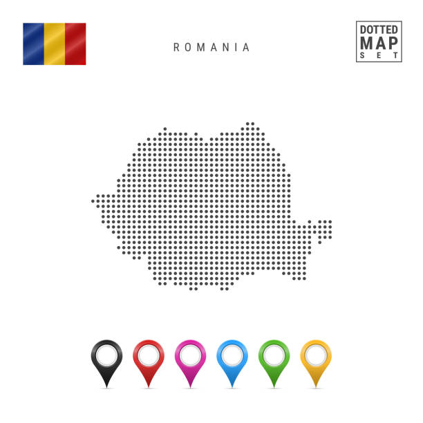 Vector Dotted Map of Romania. Simple Silhouette of Romania. The National Flag of Romania. Multicolored Map Markers Dotted Map of Romania. Simple Silhouette of Romania. The National Flag of Romania. Set of Multicolored Map Markers. Vector Illustration Isolated on White Background. romania stock illustrations