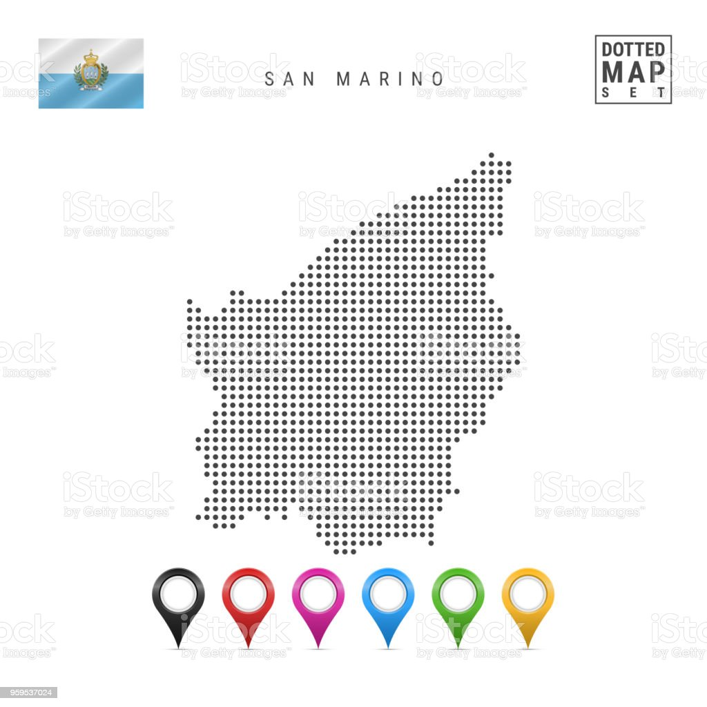 Vector Dotted Map of San Marino. Simple Silhouette of San Marino. Flag of San Marino. Set of Multicolored Map Markers vector art illustration