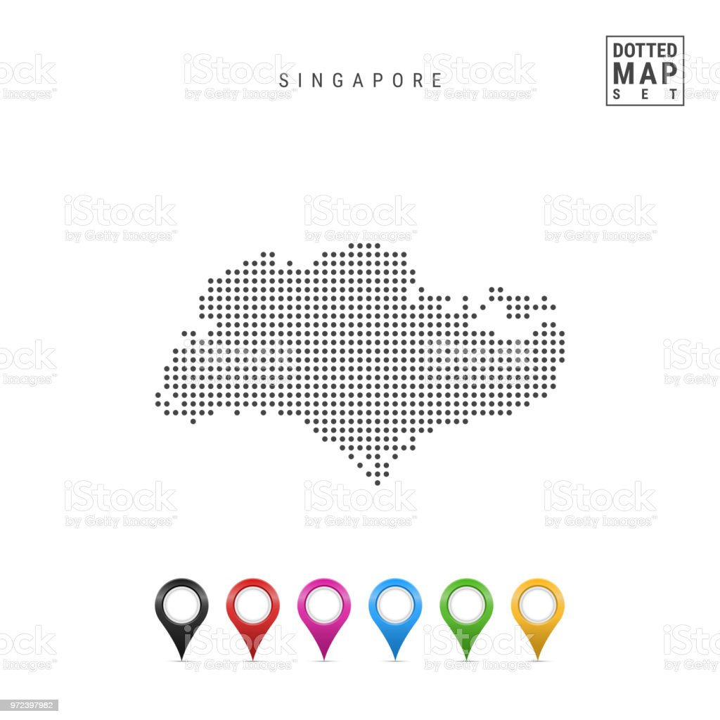 Vector Dotted Map Of Singapore. Simple Silhouette Of Singapore. Flag Of  Singapore. Set