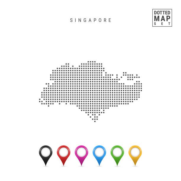 stockillustraties, clipart, cartoons en iconen met vector gestippeld kaart van singapore. eenvoudige silhouet van singapore. vlag van singapore. set van veelkleurige kaart markers - singapore