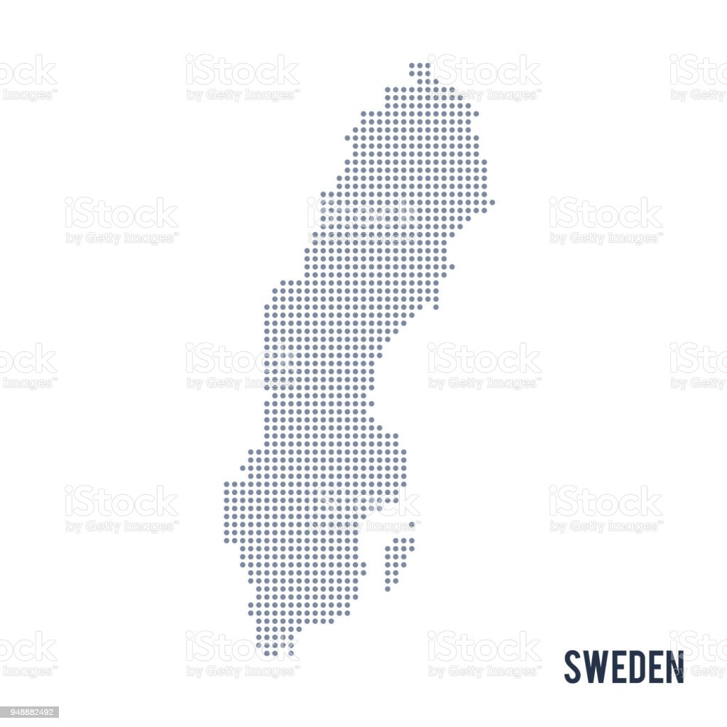 Vector dotted map of Sweden isolated on white background . vector art illustration