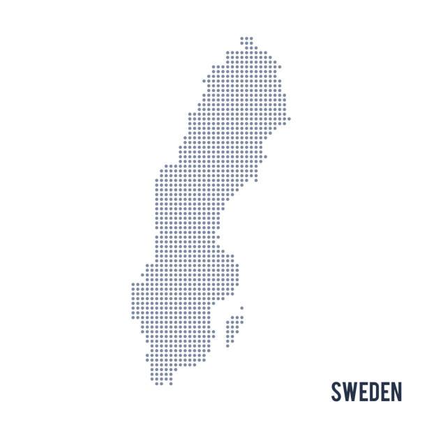 bildbanksillustrationer, clip art samt tecknat material och ikoner med vector prickade karta sverige isoleras på vit bakgrund. - sweden map