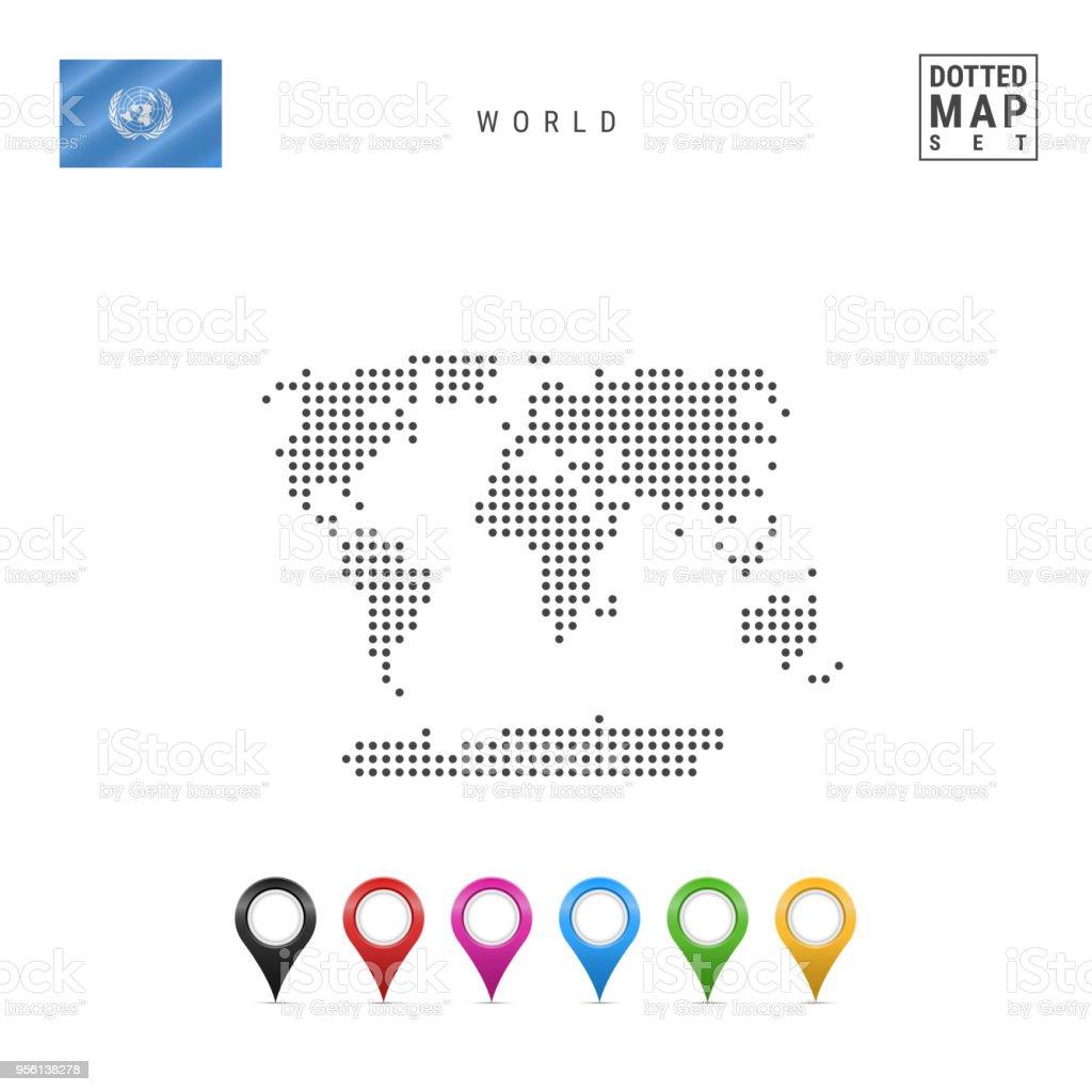 ベクトルドットの世界地図世界の簡単な輪郭国際連合の旗色とりどりの