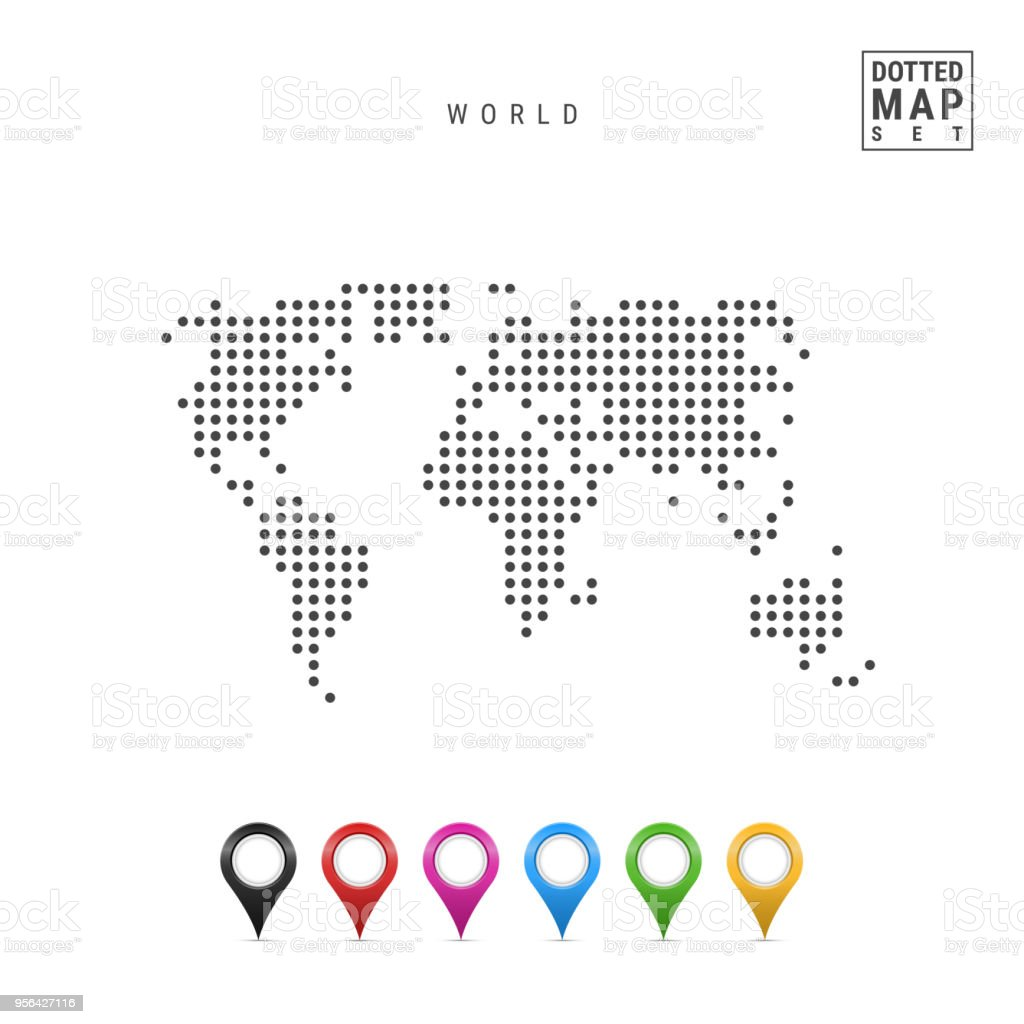 Vector Dotted Map Of The World. Simple Silhouette Of The World. Set Of  Multicolored