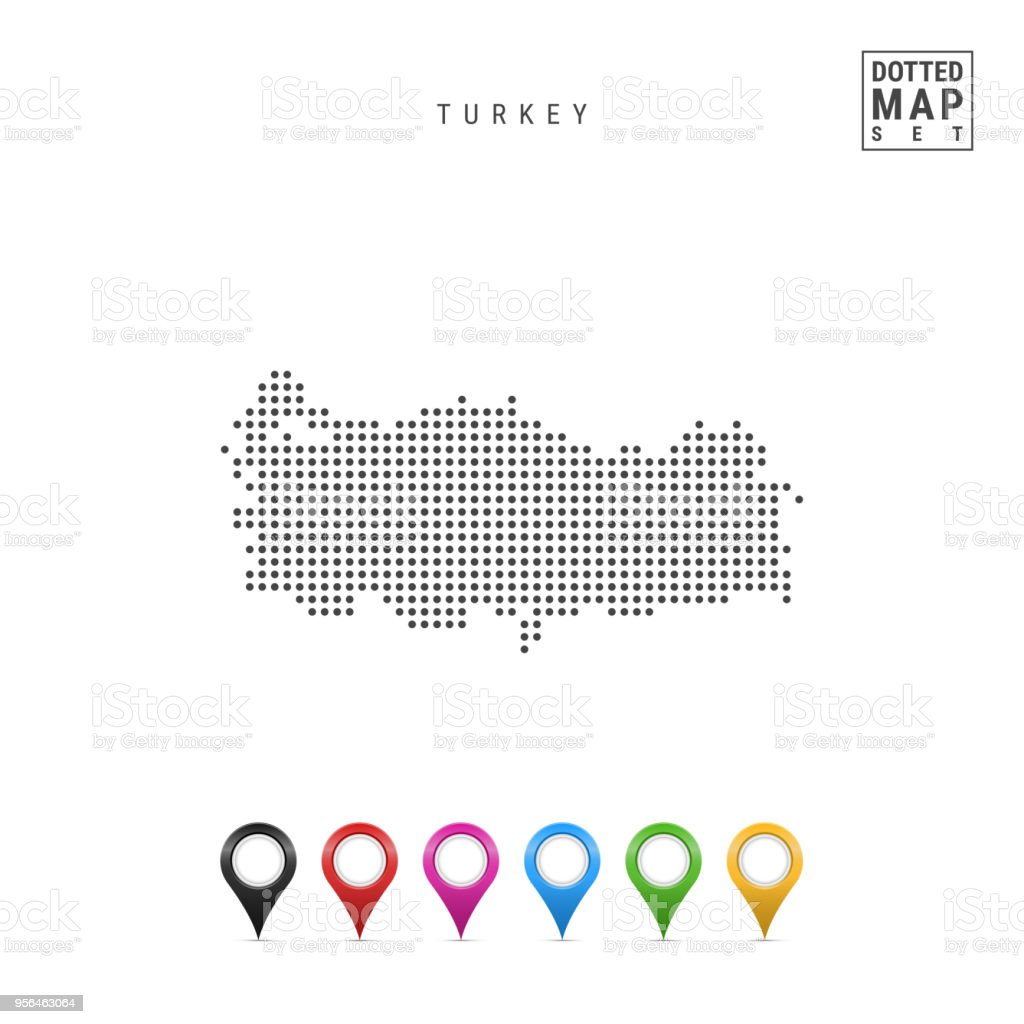 Vector Dotted Map Of Turkey. Simple Silhouette Of Turkey. Set Of  Multicolored Map Markers