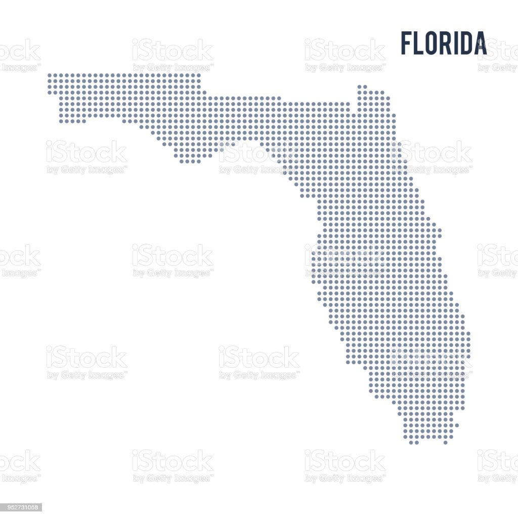 Map Of State Of Florida.Vector Dotted Map State Of Florida Isolated On White Background