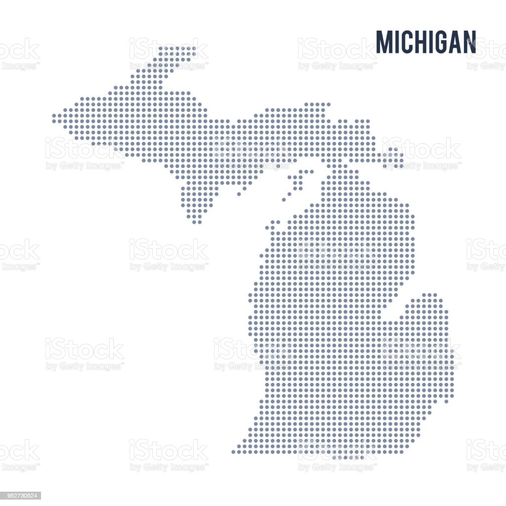 Vector Dotted Map State Of Michigan Isolated On White Background ...