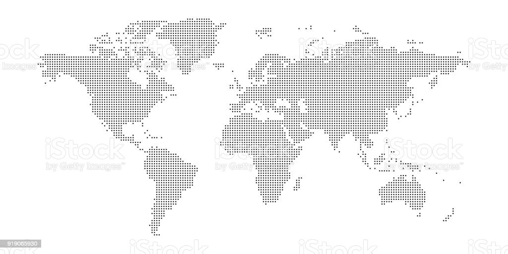 Vector dotted world map vector art illustration