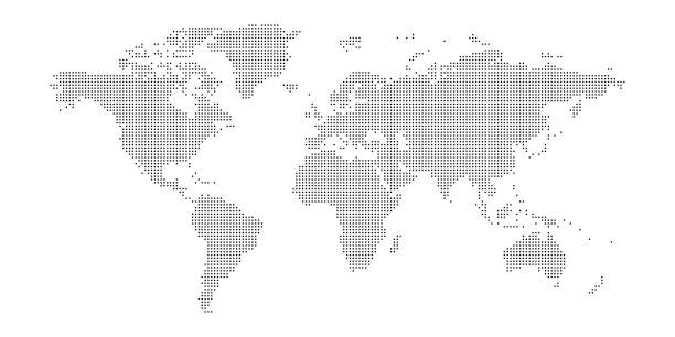 vector dotted world map - spotted stock illustrations