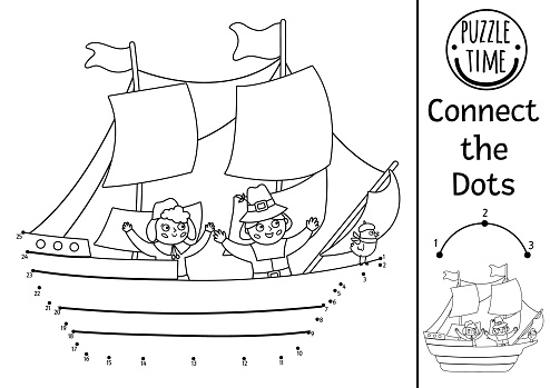 Vector dot-to-dot and color activity with Mayflower ship and pilgrims. Thanksgiving historical connect the dots game or coloring page for kids. Autumn holiday printable worksheet. Fall quiz