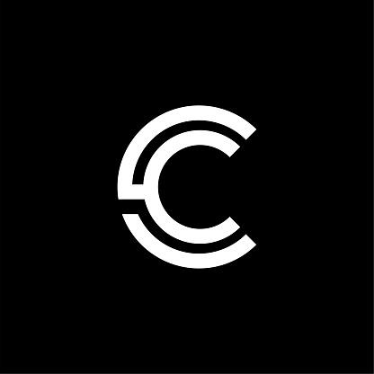 Vector Double Line Alternative Logo Letter C