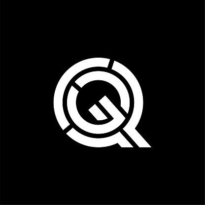 Vector Double Line Cuts Logo Letter Q