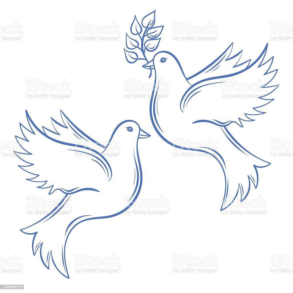 Vettoriale Colombe Mano Disegno Illustrazione Di Pace Colomba