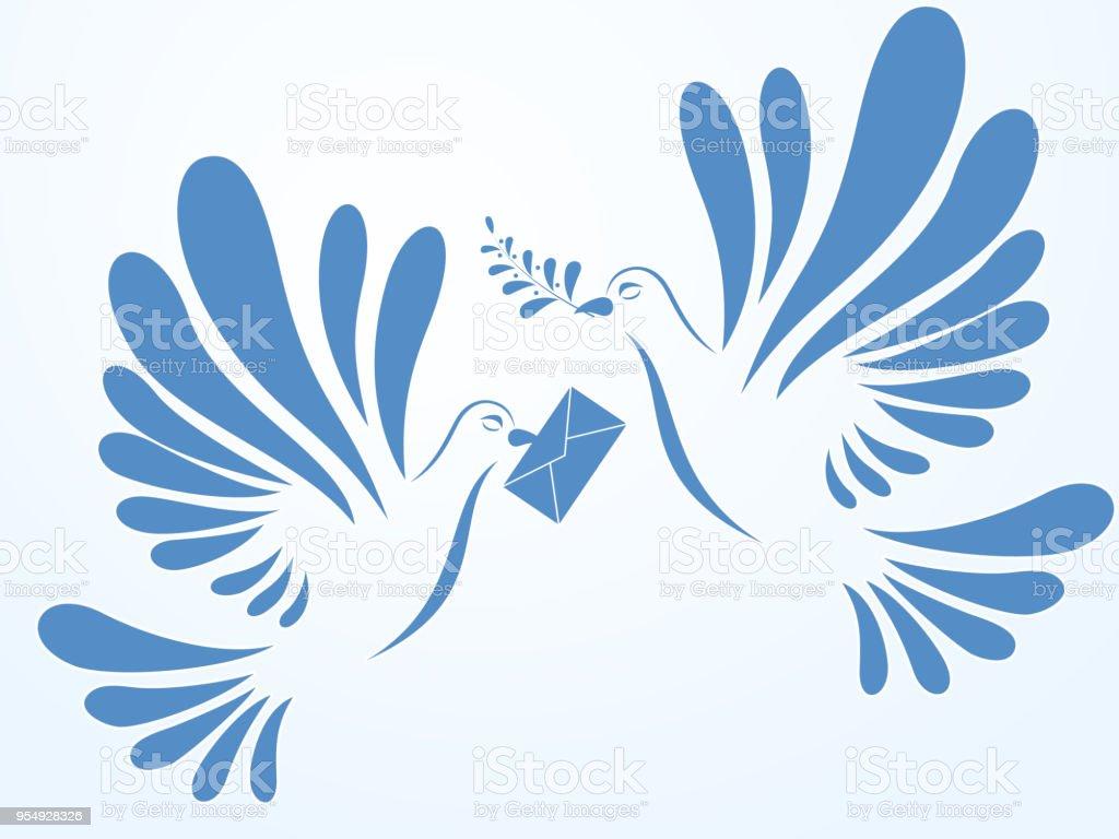 ベクトル鳩飛行 2 つの鳩のイラスト様式化された鳥 - お祝いのベクター
