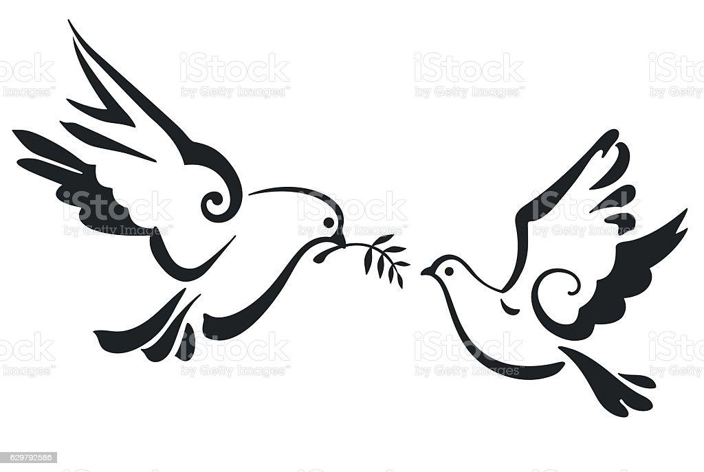 Vector Doves isolated on white vector art illustration