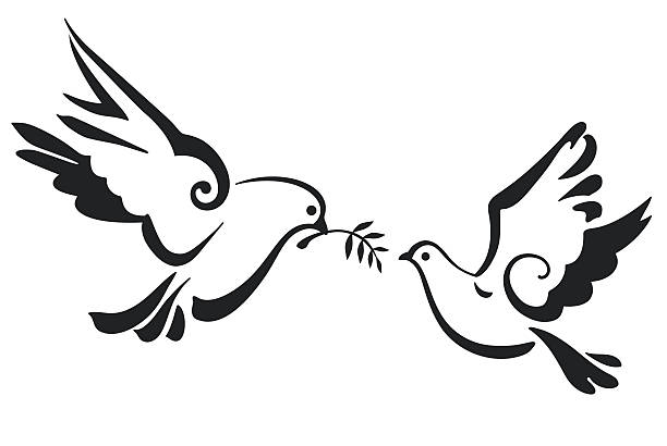 Vector Doves isolated on white - ilustración de arte vectorial