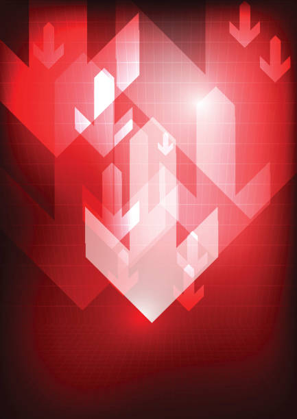 Vector : Down arrows on red grid background vector art illustration
