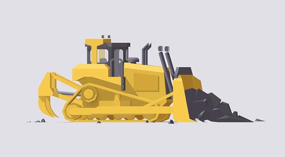 Vector dozer. Big yellow working bulldozer on light background
