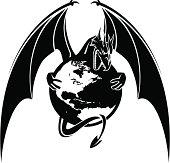 Vector dragon with globe.