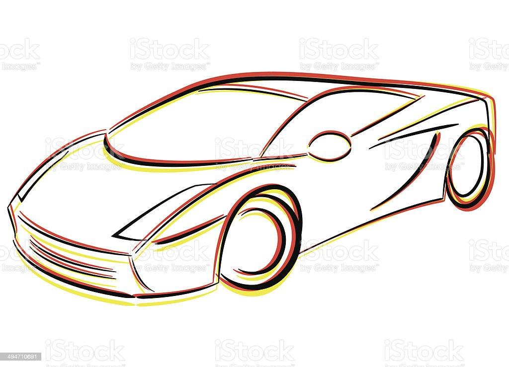 Vector drawing car vector art illustration