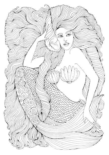 illustrations, cliparts, dessins animés et icônes de sirène de mer fantastique dessin vectoriel avec cheveux longs ondulés détient un coquillage - tatouages de sirène
