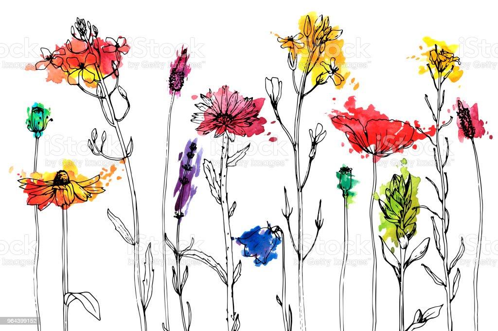 Vector tekening kruiden en bloemen - Royalty-free Aankondigingsbericht vectorkunst