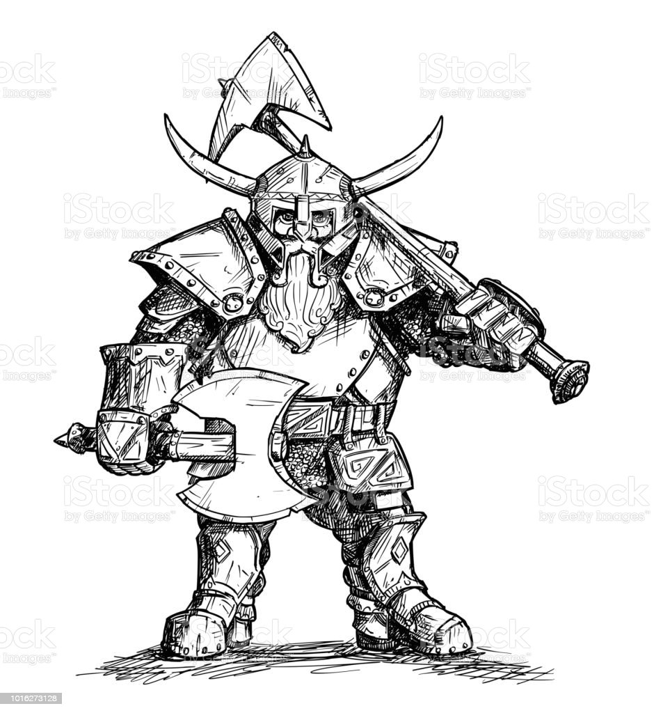Vector illustration dessin de fantasy nain guerrier en armure avec axes cliparts vectoriels et - Dessin armure ...