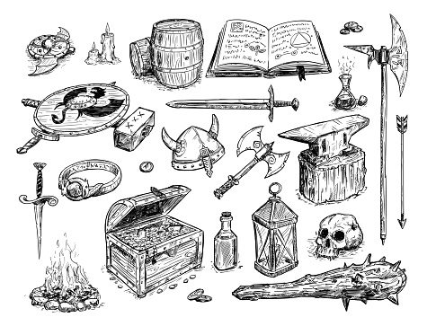 Vector Drawing Illustration of Fantasy Set Prop