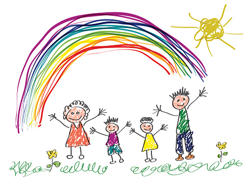 Vector drawing made by a child, happy family in the spring
