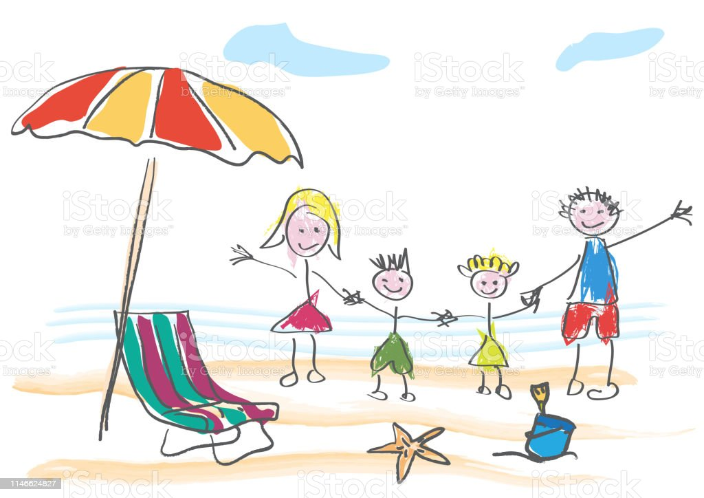 Dessin Vectoriel Fait Par Un Enfant Famille Heureuse En