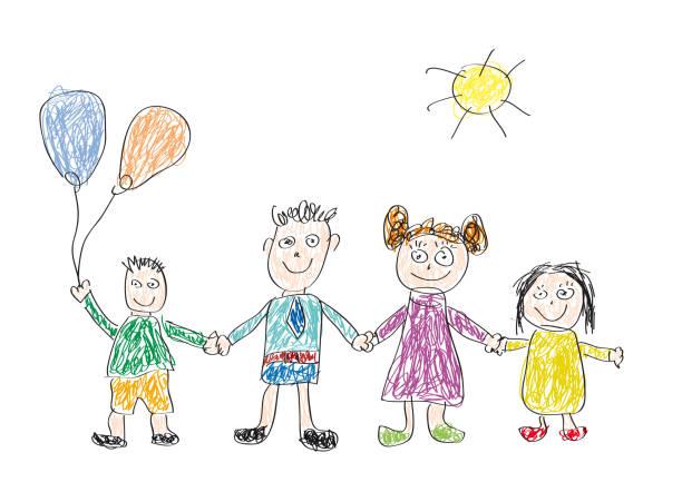 vektör çizim bir çocuk, mutlu bir aile tarafından yapılan - kids drawing stock illustrations