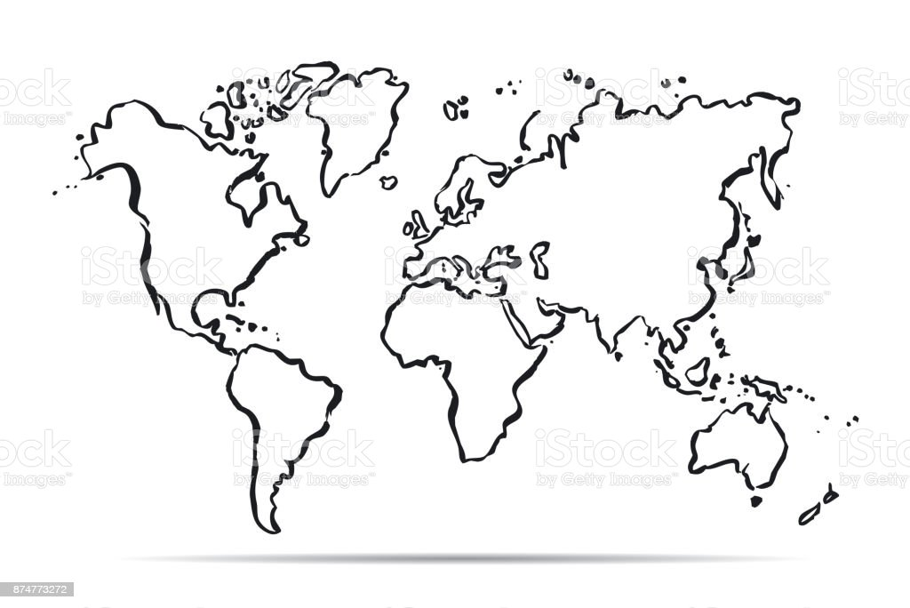 Australia Map In Europe.Vector Drawing Map Of Europe Africa Asia And Australia Stock