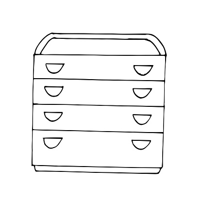 Vector drawing. Modern chest of drawers with four drawers and a folding table. Sketch stile. A linear pattern. Black and white doodles Isolated on a white background. Modern furniture for bedroom, study, living room.