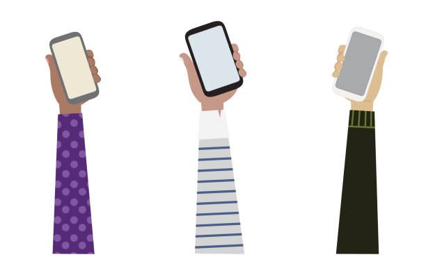 Vector drawing of 3 arms from different ethnicities holding 3 smart phones illustration, Communication concept. Vector drawing of 3 arms from different ethnicities holding 3 smart phones illustration, Communication concept. hand holding phone stock illustrations