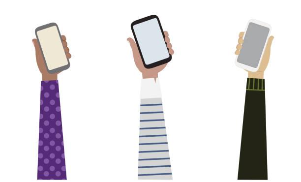 벡터 3 스마트 폰 그림, 통신 개념을 들고 다른 민족성에서 3 무기의 그림입니다. - hand holding phone stock illustrations