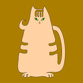 Vector drawing of a contour of a thick cartoon red tabby kitten cat for prints on baby clothes.