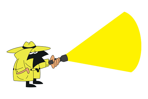 Vector drawing of a detective mascot character with hat and flashlight searching for clues to a crime
