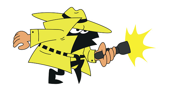 vector drawing of a detective mascot character with hat and flashlight looking for clues to a crime walking on tiptoe