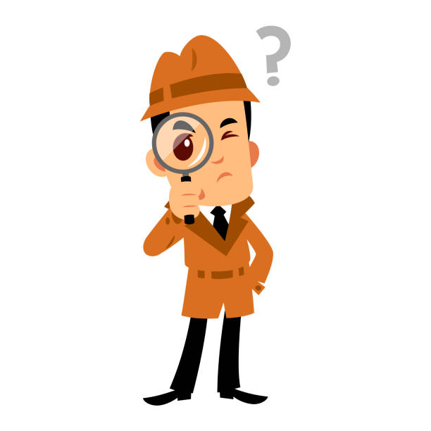 Vector drawing of a detevtive man Vector drawing of a detective man, he has a doubt detective stock illustrations