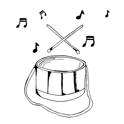 Vector drawing of a drum with notes. Musical instrument sketch.