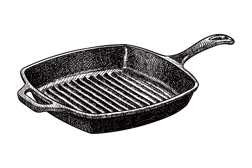 Vector drawing of a grill cooking pan
