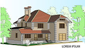 Vector drawing of a house in the future. The house with a slate roof. Drawing of a house. Private house. Architecture. Exterior. House.  Advertise property. Banner