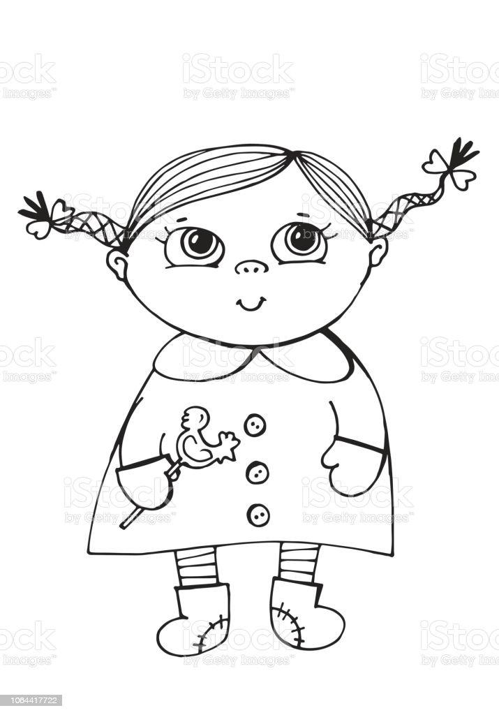 Vecteur Dessin Dune Petite Fille Avec Une Sucette Jeune