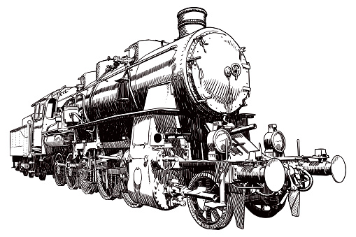 Detailed old style illustration of an old steam engine