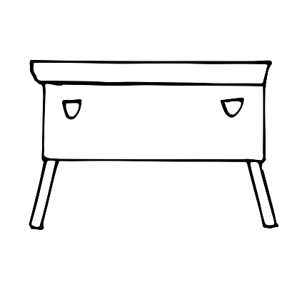 Vector drawing of a long nightstand. Sketch stile. A linear pattern. Black and white doodles Isolated on a white background. Modern furniture for bedroom, study, living room.