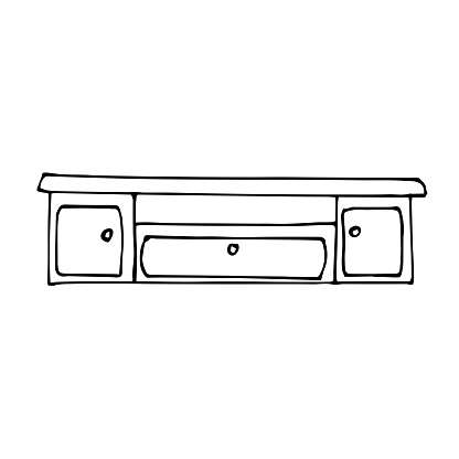 Vector drawing of a low long TV table. Sketch stile. A linear pattern. Black and white doodles Isolated on a white background. Modern furniture for bedroom, study, living room.