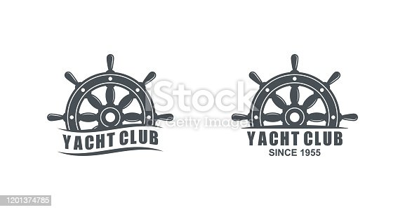 Set of black and white logos of yacht club on a white background.